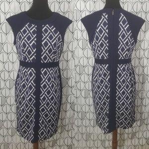 Donna Morgan Sunni Blue Geometric Sheath Dress